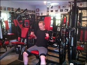 Jim Keen using the Nautilus Compound Triceps machine at Jim Flanagan's home gym