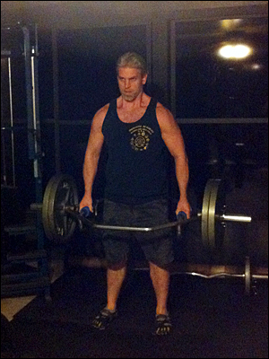 Drew Baye performing shrug bar deadlifts with Fat Gripz