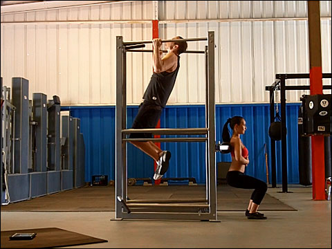 Parallel grip pull ups and hack squats on the UXS bodyweight multi-exercise station