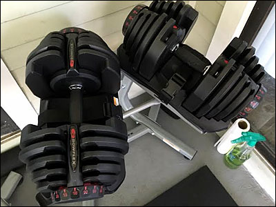 SelectTech 1090 dumbbells with rubberized grips